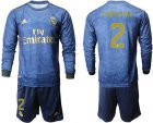Cheap Real Madrid #2 Carvajal Away Long Sleeves Soccer Club Jersey