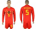Cheap Belgium #5 Vertonghen Red Home Long Sleeves Soccer Country Jersey