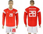 Cheap Russia #28 Smolnikov Red Home Long Sleeves Soccer Country Jersey