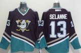 Cheap Ducks #13 Teemu Selanne Purple/Turquoise CCM Throwback Stitched NHL Jersey