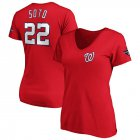Cheap Washington Nationals #22 Juan Soto Majestic Women's 2019 World Series Champions Name & Number V-Neck T-Shirt Red