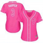 Cheap Phillies #3 Bryce Harper Pink Fashion Women's Stitched MLB Jersey