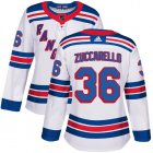 Cheap Adidas Rangers #36 Mats Zuccarello White Road Authentic Women's Stitched NHL Jersey
