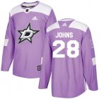 Cheap Adidas Stars #28 Stephen Johns Purple Authentic Fights Cancer Youth Stitched NHL Jersey
