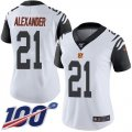 Cheap Nike Bengals #21 Mackensie Alexander White Women's Stitched NFL Limited Rush 100th Season Jersey