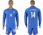 Cheap Greece #14 Salpingidis Away Long Sleeves Soccer Country Jersey