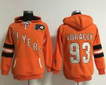 Cheap Philadelphia Flyers #93 Jakub Voracek Orange Women's Old Time Heidi NHL Hoodie
