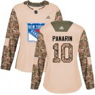 Cheap Adidas Rangers #10 Artemi Panarin Camo Authentic 2017 Veterans Day Women's Stitched NHL Jersey
