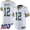 Cheap Nike Packers #12 Aaron Rodgers White Men's Stitched NFL 100th Season Vapor Limited Jersey