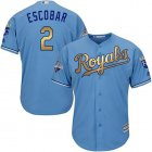 Cheap Royals #2 Alcides Escobar Light Blue 2015 World Series Champions Gold Program Cool Base Stitched Youth MLB Jersey