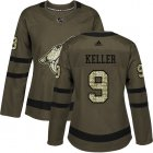 Cheap Adidas Coyotes #9 Clayton Keller Green Salute to Service Women's Stitched NHL Jersey