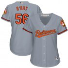 Cheap Orioles #56 Darren O'Day Grey Road Women's Stitched MLB Jersey