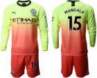 Cheap Manchester City #15 Mangala Third Long Sleeves Soccer Club Jersey