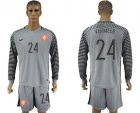 Cheap Holland #24 Vermeer Grey Goalkeeper Long Sleeves Soccer Country Jersey