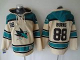 Cheap Sharks #88 Brent Burns Cream Sawyer Hooded Sweatshirt Stitched NHL Jersey