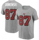 Cheap Men's Tampa Bay Buccaneers Rob Gronkowski Nike Heathered Gray Super Bowl LV Champions Name & Number T-Shirt
