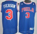 Cheap Philadelphia Sixers #3 Allen Iverson Blue With PHILA Swingman Throwback Jersey