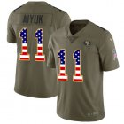 Cheap Nike 49ers #11 Brandon Aiyuk Olive/USA Flag Youth Stitched NFL Limited 2017 Salute To Service Jersey