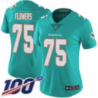 Cheap Nike Dolphins #75 Ereck Flowers Aqua Green Team Color Women's Stitched NFL 100th Season Vapor Untouchable Limited Jersey