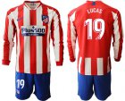 Cheap Atletico Madrid #19 Lucas Home Long Sleeves Soccer Club Jersey