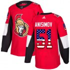 Cheap Adidas Senators #51 Artem Anisimov Red Home Authentic USA Flag Stitched NHL Jersey