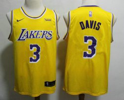 Cheap Men\'s Los Angeles Lakers #3 Anthony Davis 2019 Yellow Nike Swingman Wish Stitched NBA Jersey