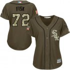 Cheap White Sox #72 Carlton Fisk Green Salute to Service Women's Stitched MLB Jersey