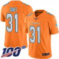 Cheap Nike Dolphins #31 Byron Jones Orange Men's Stitched NFL Limited Rush 100th Season Jersey