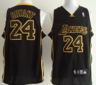 Cheap Los Angeles Lakers #24 Kobe Bryant All Black With Yellow Swingman Jersey