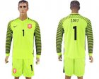 Cheap Holland #1 Zoet Green Long Sleeves Goalkeeper Soccer Country Jersey
