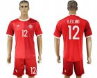 Cheap Danmark #12 Bjelland Red Home Soccer Country Jersey