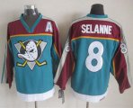 Cheap Ducks #8 Teemu Selanne Red/Turquoise CCM Throwback Stitched NHL Jersey