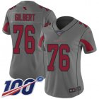 Cheap Nike Cardinals #76 Marcus Gilbert Silver Women's Stitched NFL Limited Inverted Legend 100th Season Jersey