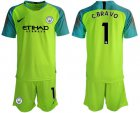 Cheap Manchester City #1 C.Bravo Shiny Green Goalkeeper Soccer Club Jersey