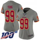 Cheap Nike Redskins #99 Chase Young Gray Women's Stitched NFL Limited Inverted Legend 100th Season Jersey