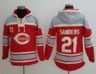 Cheap Reds #21 Reggie Sanders Red Sawyer Hooded Sweatshirt MLB Hoodie