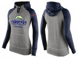 Cheap Women's Nike Los Angeles Chargers Performance Hoodie Grey & Dark Blue