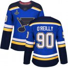 Cheap Adidas Blues #90 Ryan O'Reilly Blue Home Authentic Stanley Cup Champions Women's Stitched NHL Jersey