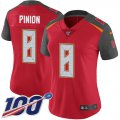 Cheap Nike Buccaneers #8 Bradley Pinion Red Team Color Women's Stitched NFL 100th Season Vapor Untouchable Limited Jersey