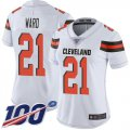Cheap Nike Browns #21 Denzel Ward White Women's Stitched NFL 100th Season Vapor Limited Jersey