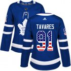 Cheap Adidas Maple Leafs #91 John Tavares Blue Home Authentic USA Flag Women's Stitched NHL Jersey