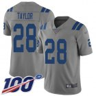Cheap Nike Colts #28 Jonathan Taylor Gray Youth Stitched NFL Limited Inverted Legend 100th Season Jersey