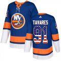 Cheap Adidas Islanders #91 John Tavares Royal Blue Home Authentic USA Flag Stitched Youth NHL Jersey