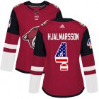 Cheap Adidas Coyotes #4 Niklas Hjalmarsson Maroon Home Authentic USA Flag Women's Stitched NHL Jersey