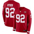 Cheap Nike 49ers #92 Kerry Hyder Red Team Color Youth Stitched NFL Limited Therma Long Sleeve Jersey