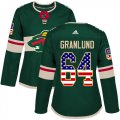 Cheap Adidas Wild #64 Mikael Granlund Green Home Authentic USA Flag Women's Stitched NHL Jersey