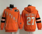 Cheap Philadelphia Flyers #27 Ron Hextall Orange Women's Old Time Heidi NHL Hoodie