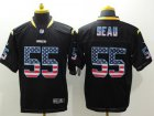 Cheap Nike Chargers #55 Junior Seau Black Men's Stitched NFL Elite USA Flag Fashion Jersey
