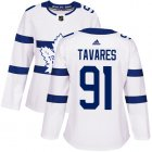 Cheap Adidas Maple Leafs #91 John Tavares White Authentic 2018 Stadium Series Women's Stitched NHL Jersey