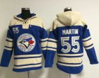 Cheap Blue Jays #55 Russell Martin Blue Sawyer Hooded Sweatshirt MLB Hoodie